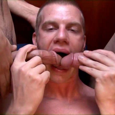 Blake Daniels sucking two hard cocks | Daily Dudes @ Dude Dump