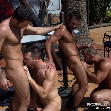 A Gay Muscle Fourgy At World of Men!   Daily Dudes @ Dude Dump