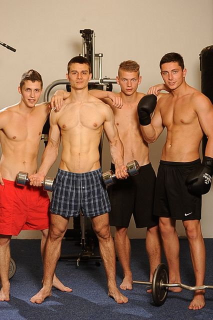 A hot uncut fourgy with straight boys in the gym   Daily Dudes @ Dude Dump