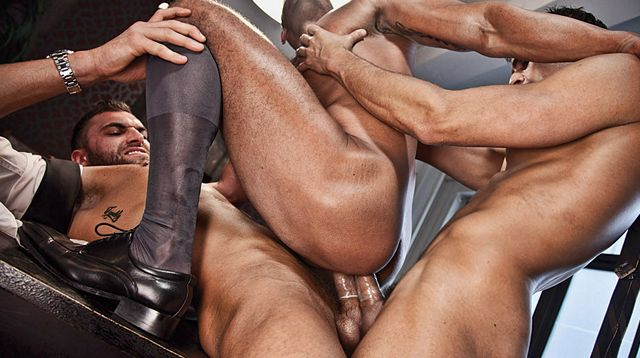 Angelo Marconi double-fucked by 2 monstercocks | Daily Dudes @ Dude Dump