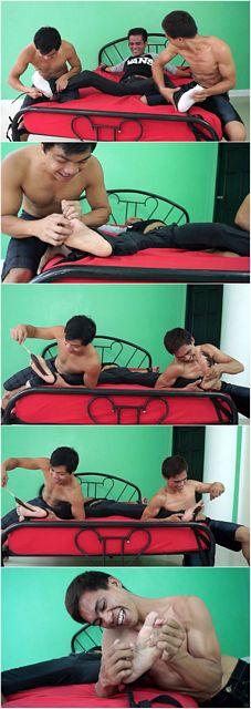 Asian Guy's Feet Tag-Team Tickled | Daily Dudes @ Dude Dump