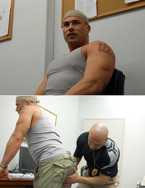 Beefy Gangster Gets Deep Cavity Search By Muscle | Daily Dudes @ Dude Dump