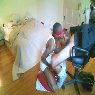 Blindfolded Black Twink Sucks On Big White Dick | Daily Dudes @ Dude Dump