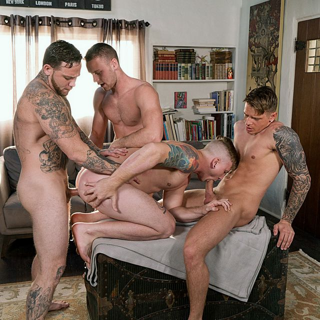 """Four Hot Guys Fuck Raw in """"Raw Renters"""" at BRO 