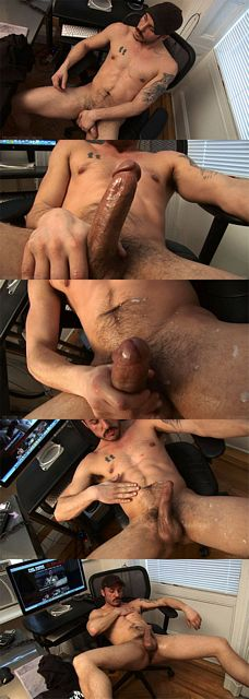 Gabriel strokes his 6 inch cut cock & spurts jizz   Daily Dudes @ Dude Dump