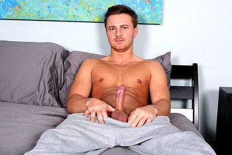 Gave it a little lick and out spurts a glob of cum | Daily Dudes @ Dude Dump