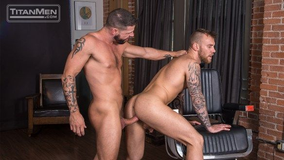 Tex Davidson gives Damien Michaels his barber pole   Daily Dudes @ Dude Dump