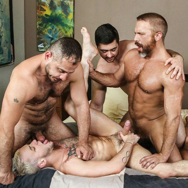 Three hairy guys fuck Colton | Daily Dudes @ Dude Dump
