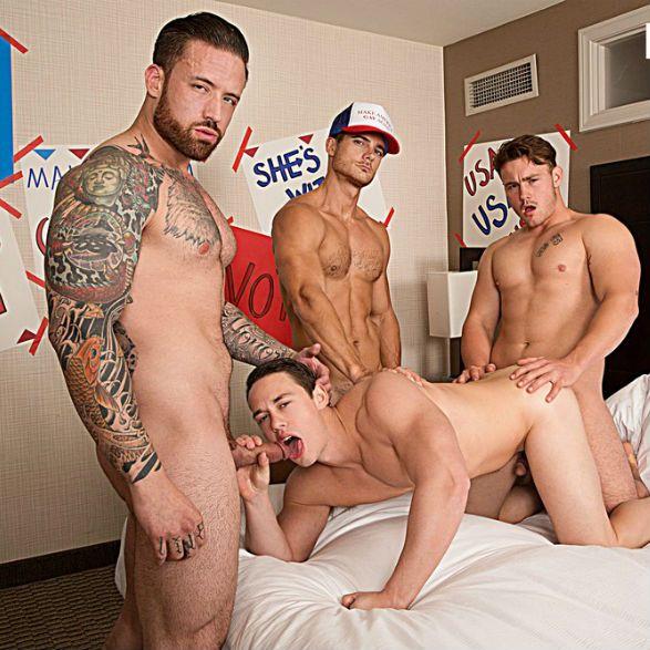 Trevor, Evan and Jordan gangbang Tobias   Daily Dudes @ Dude Dump